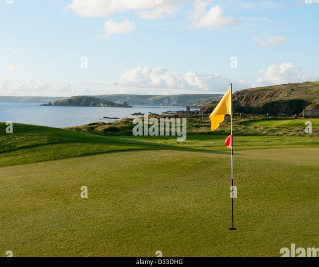 Thurlstone golf course looking towards Burgh Island in South Devon in Britain - Stock Image