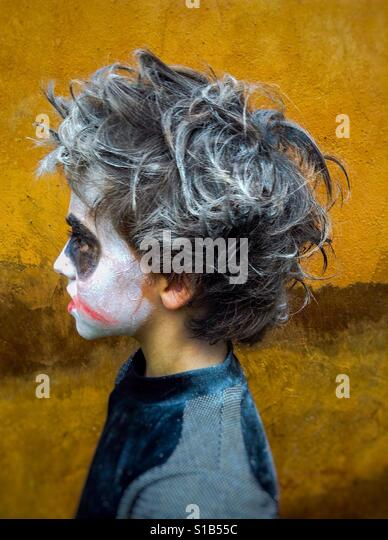 Zombie costume on child in profile - Stock Image