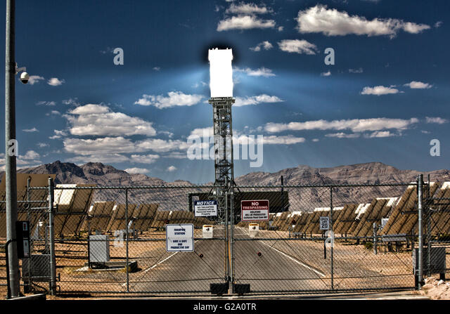 Views of Ivanpah Solar Thermal power plant. - Stock Image