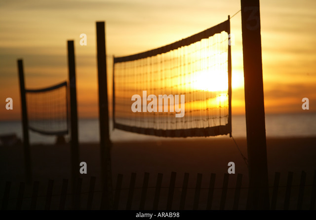 volleyball courts at sunset - Stock Image
