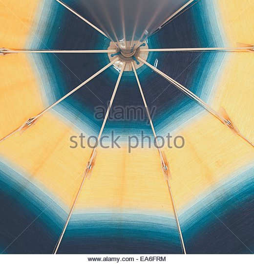 Sun umbrella seen from below - Stock Image