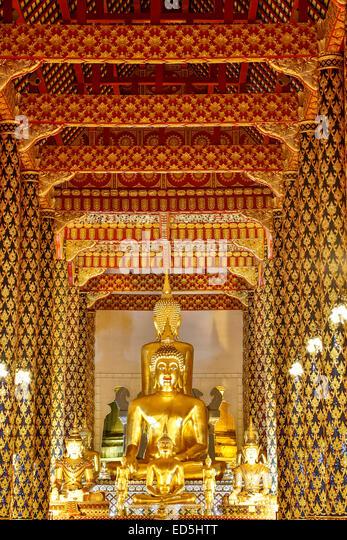 Buddha statue, prayer hall, Wat Suan Dok, Chiang Mai, Thailand - Stock Image