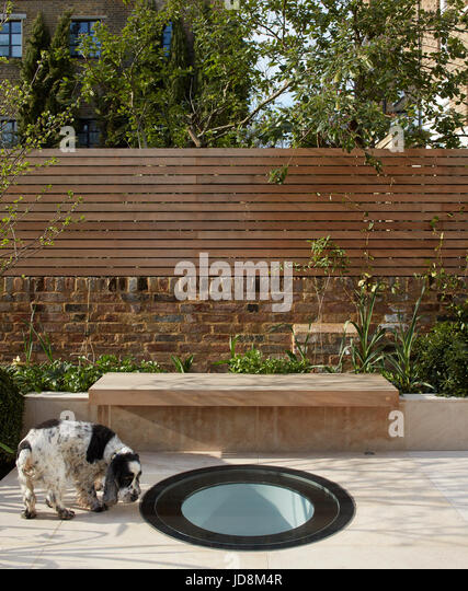 Garden view above basement with owners dog. Notting Hill House, London, United Kingdom. Architect: Michaelis Boyd - Stock-Bilder