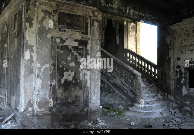 Destroyed building in Sukhumi (Abkhazia) - Stock Image