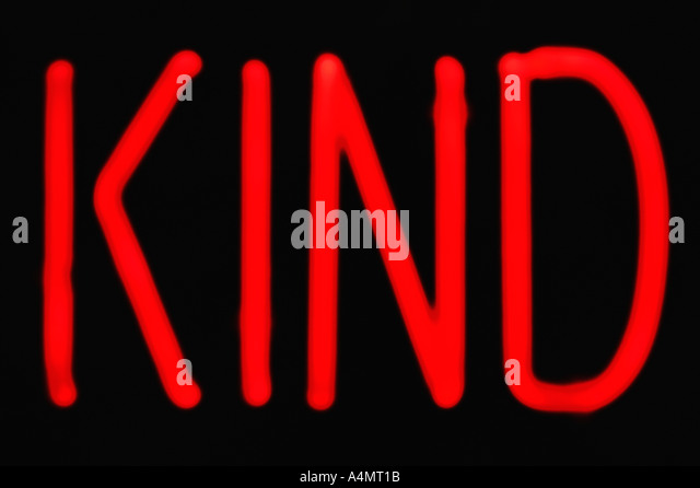 Urban Type Red Neon Kind Sign - Stock Image