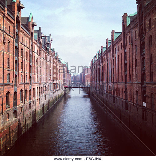 Canal between buildings, Hamburg, Germany - Stock-Bilder