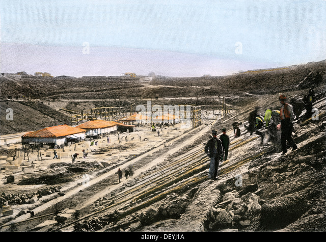 Building the stadium in Athens for the first modern Olympic Games, held in 1896. - Stock Image