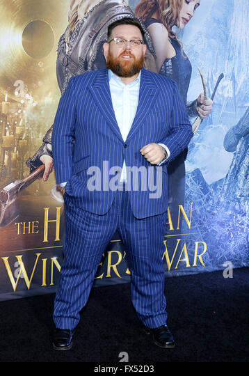 Los Angeles, California, USA. 11th Apr, 2016. Nick Frost at the Los Angeles premiere of 'The Huntsman: Winter's - Stock Image