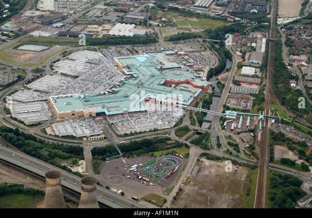 Meadowhall Shopping Centre, Sheffield, from the air, August 2007 - Stock Image