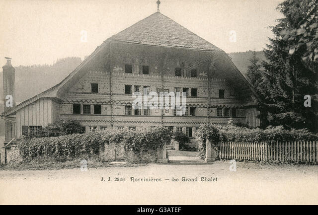 The Grand Chalet, a building of historical interest in Rossiniere, Vaud, Switzerland. - Stock Image