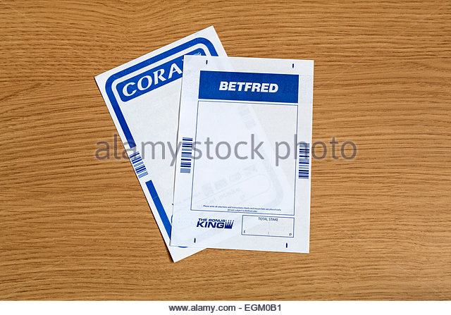 Coral and Betfred betting slips - Stock Image