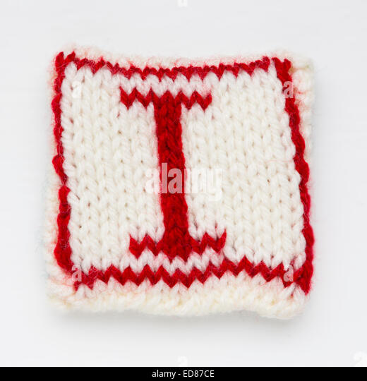 Knitted letter I woollen lettering. - Stock Image