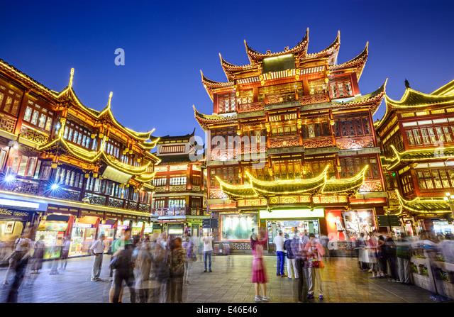Shanghai, China at Yuyuan Garden district. - Stock Image