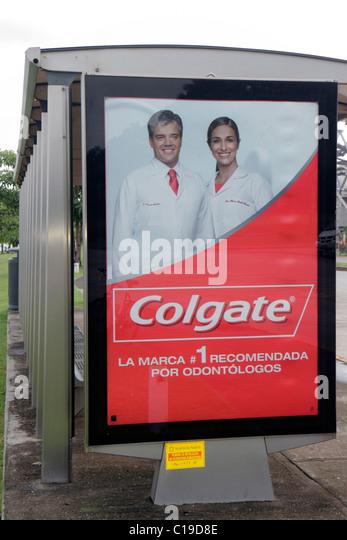 Panama Panama City Amador bus stop advertisement ad advertising sign backlit display marketing Colgage toothpaste - Stock Image