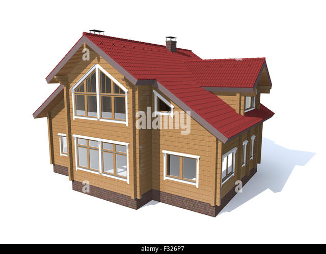 3D render architecture model red roof wood house  isolated in white - Stock Image