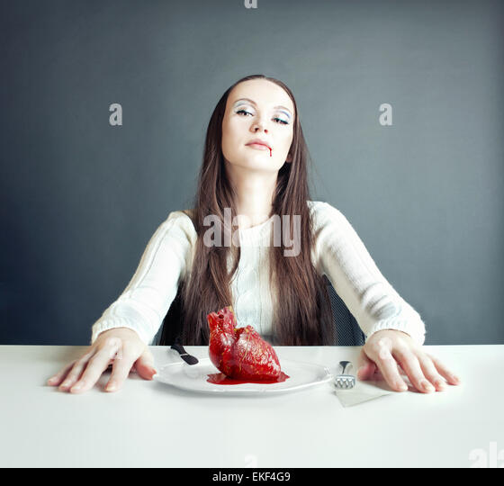 woman and heart - Stock Image
