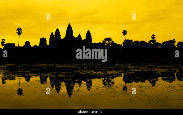 Ankor Wat, photo taken at sunrise - Stock Image