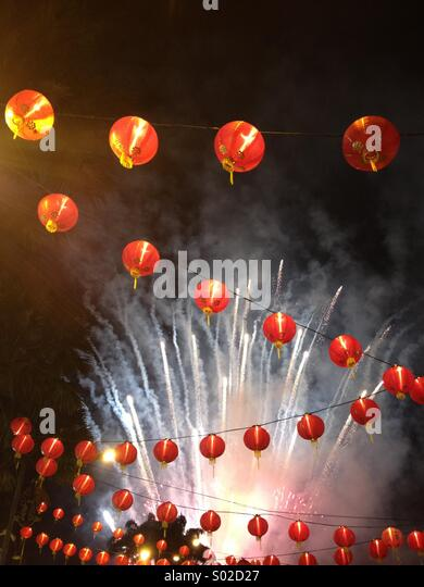 Chinese New Year lanterns fireworks - Stock Image