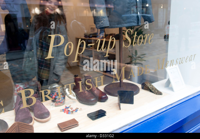 Pop-up store shop window, London, England, UK - Stock Image