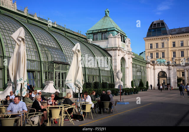 Cafe at  Palm house (Palmenhaus) near Burggarten,  Vienna, Austria, Europe - Stock Image
