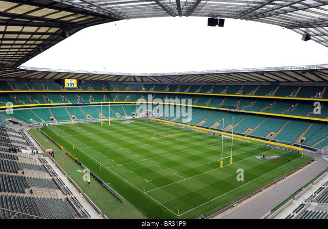 View inside Twickenham Stadium, Twickenham, London. Home of the English Rugby Football Union or RFU - Stock Image