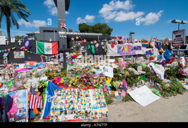 Orlando Florida Pulse night club tragedy shooting memorial at gay bar by terrorist on June 12, 2016 - Stock Image
