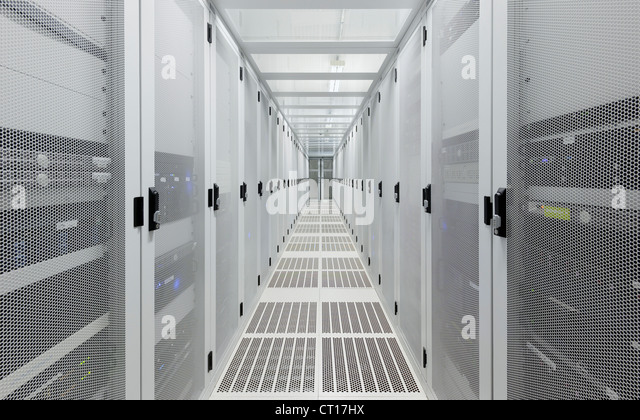 Hallway in server room - Stock Image