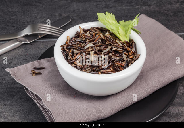 Wild Rice garnished with Celery - Stock Image