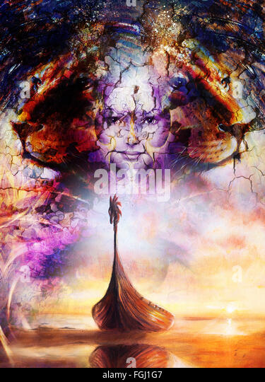 Viking Boat on the beach, and lion head, collage painting on canvas, Boat with wood dragon. structure background, - Stock-Bilder