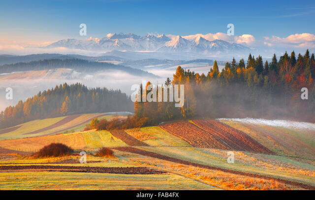 Tatra Mountains - view from Czorsztyn, Pieniny region, Poland - Stock Image