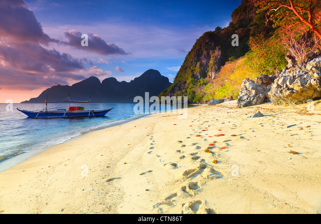 Beautiful seascape. Boat on the foreground. Philippines - Stock Image