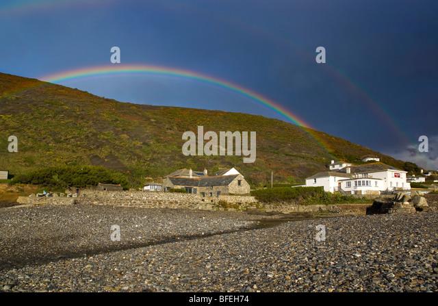 Crackington Haven; rainbow on beach; cornwall - Stock Image