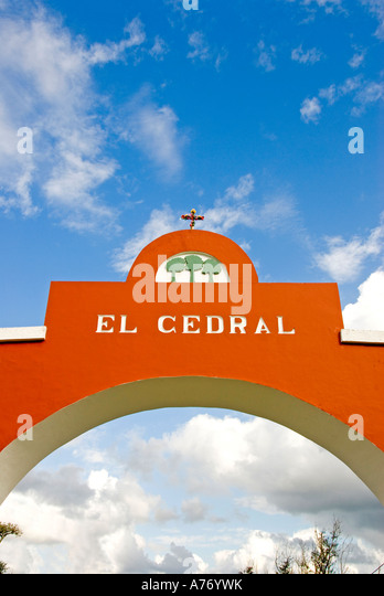 Cozumel Mexico El Cedral Archaeological Site red arch over road - Stock Image