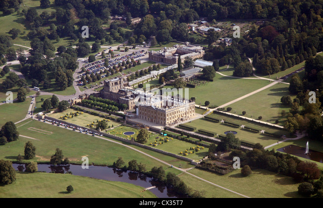 aerial view of Chatsworth House in Derbyshire - Stock Image