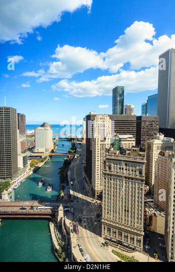 High angle view of Chicago River and Lake Michigan, Chicago, Illinois, United States of America, North America - Stock Image