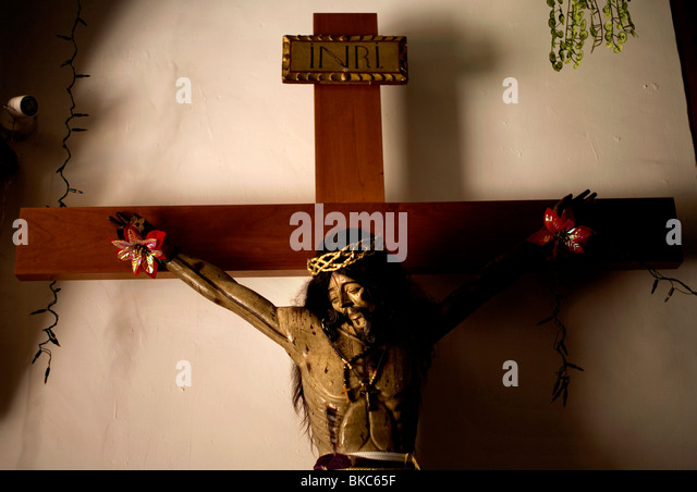 A sculpture of Jesus Christ hangs in the San Miguel Arcangel Church in Tepoztlan, Mexico, December 17, 2007. Photo/Chico - Stock Image