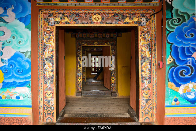 Access to the sanctuary of the Punakha Dzong monastery fortress, Punakha District, Bhutan - Stock Image