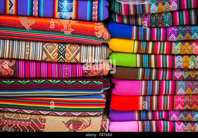 South America, Latin America, Peru, Lima, textiles in souvenir shop - Stock Image