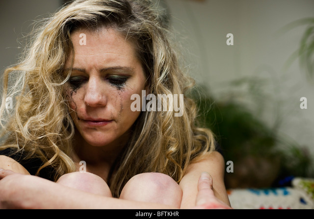 woman upset and crying - Stock Image