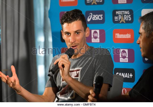 Paris, France. 26th Aug, 2016. French middle distance runner Pierre Ambroise Bosse takes part in a press conference - Stock Image