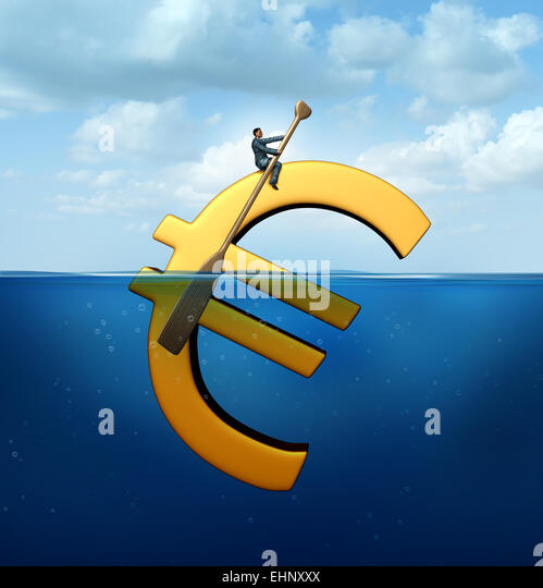 Euro currency guidance financial concept as a european money icon floating in the water with a businessman using - Stock-Bilder