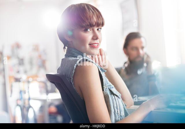 Portrait confident female design professional in office - Stock-Bilder