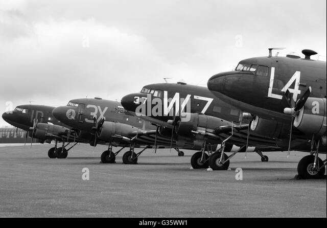 Douglas C-47 at Duxford - Stock Image