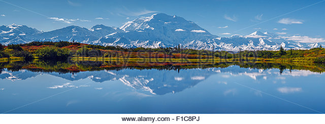 Alaska : Mount McKinley and Reflection Pond in Denali national Park - Stock Image