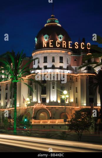 Hotel Negresco on Promenade des Anglais in Nice, France - Stock Image