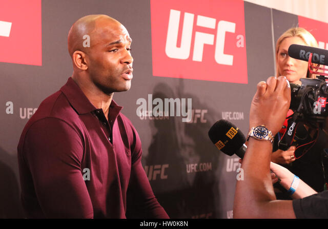 London, UK. 16th Mar, 2017. Jimi Manuwa answers questions from media ahead of his upcoming main event fight against - Stock Image