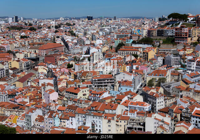 High level view over the rooftops of the city of Lisbon, Portugal. - Stock Image