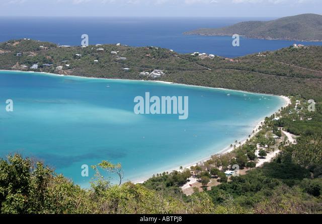 St. Thomas USVI North Side Skyline Drive Megans Bay and Beach Atlantic Ocean - Stock Image