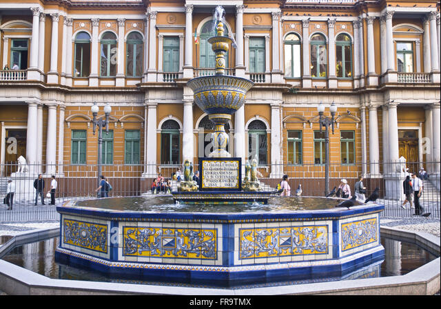 Source Talavera in Praca Montevideo building in front of the City Hall built in 1901 - Stock Image
