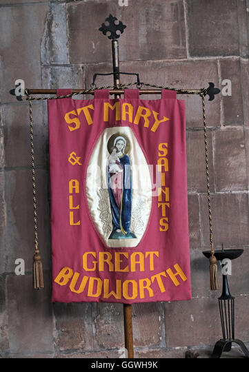 St Marys & All Saints Church Gt Budworth Interior, Cheshire, England,UK - walking banner - Stock Image